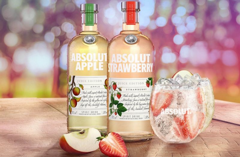 Photo for: Abolsut Vodka launches booze with actual apple and strawberry juice